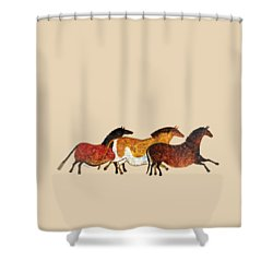 Cave Horses In Beige Shower Curtain