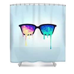 Psychedelic Nerd Glasses With Melting Lsd Trippy Color Triangles Shower Curtain