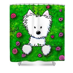 Westie In Roses Shower Curtain