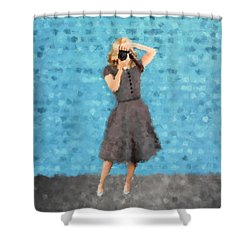 Shower Curtain featuring the digital art Natalie by Nancy Levan