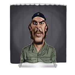 Shower Curtain featuring the drawing Celebrity Sunday - Che Guevara by Rob Snow