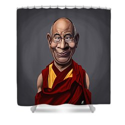 Shower Curtain featuring the drawing Celebrity Sunday - Dalai Lama by Rob Snow