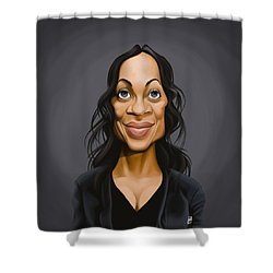 Shower Curtain featuring the drawing Celebrity Sunday - Rosario Dawson by Rob Snow
