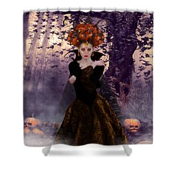 Shower Curtain featuring the digital art Pumpkin Witch by Shanina Conway