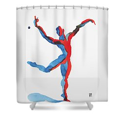 Shower Curtain featuring the painting Ballet Dancer 3 Gesturing by Shungaboy X