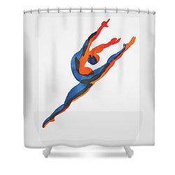 Shower Curtain featuring the painting Ballet Dancer 2 Leaping by Shungaboy X