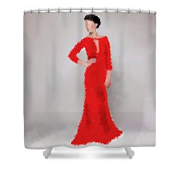 Shower Curtain featuring the digital art Vivienne by Nancy Levan