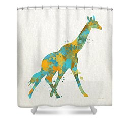 Giraffe Watercolor Art Shower Curtain by Christina Rollo