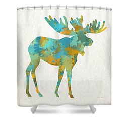 Moose Watercolor Art Shower Curtain by Christina Rollo