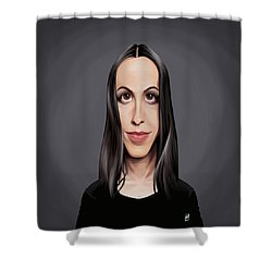Shower Curtain featuring the drawing Celebrity Sunday - Alanis Morissette by Rob Snow