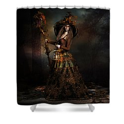 Shower Curtain featuring the digital art The Wood Witch by Shanina Conway