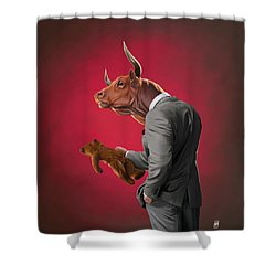 Shower Curtain featuring the drawing Bull by Rob Snow