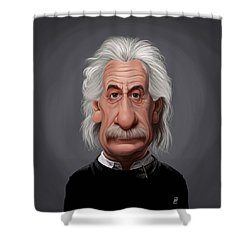 Shower Curtain featuring the drawing Celebrity Sunday - Albert Einstein by Rob Snow