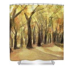Autumn Leaves Central Park Shower Curtain