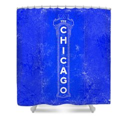 Shower Curtain featuring the digital art Chicago Theatre Sign - Blueprint by Mark Tisdale