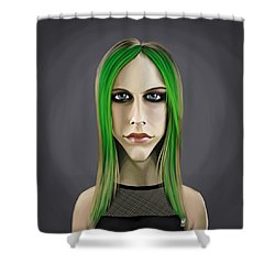 Shower Curtain featuring the drawing Celebrity Sunday - Avril Lavigne by Rob Snow