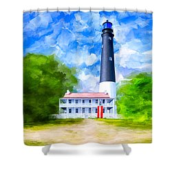 Shower Curtain featuring the mixed media Historic Pensacola Light by Mark Tisdale