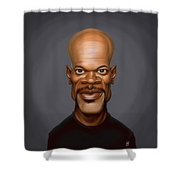 Shower Curtain featuring the drawing Celebrity Sunday - Samuel L Jackson by Rob Snow