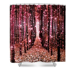 Magical Forest Pink Peach Shower Curtain