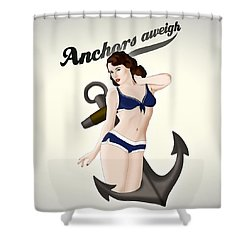 Anchors Aweigh - Classic Pin Up Shower Curtain