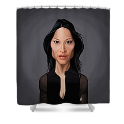 Shower Curtain featuring the drawing Celebrity Sunday - Lucy Liu by Rob Snow
