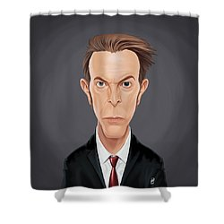Shower Curtain featuring the drawing Celebrity Sunday - David Bowie by Rob Snow