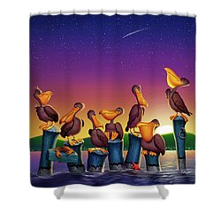Pelican Sunset Whimsical Cartoon Tropical Birds Seascape - Vertical Shower Curtain
