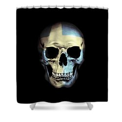 Shower Curtain featuring the digital art Swedish Skull by Nicklas Gustafsson