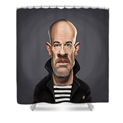 Shower Curtain featuring the drawing Celebrity Sunday - Michael Stipe by Rob Snow