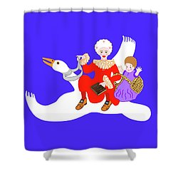 Mother Goose On Her Flying Goose Shower Curtain