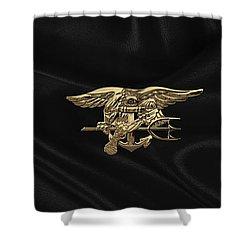 U.s. Navy Seals Trident Over Black Flag Shower Curtain