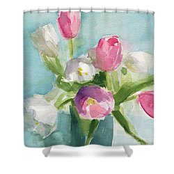 Pink And White Tulips Shower Curtain