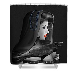 Mystic Woman With Raven Shower Curtain by Monika Juengling