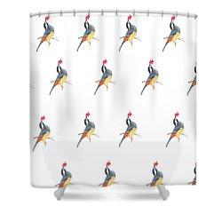 Minimal Bird And Flower Shower Curtain