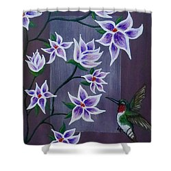 Hummingbird Delight Shower Curtain by Teresa Wing