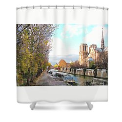 The Seine And Quay Beside Notre Dame, Autumn Shower Curtain by Felipe Adan Lerma