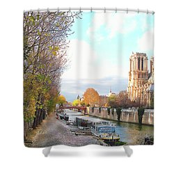 Shower Curtain featuring the photograph The Seine And Quay Beside Notre Dame, Autumn by Felipe Adan Lerma