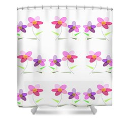 Rows Of Flowers Shower Curtain