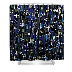Stormy Night In The City Shower Curtain by Teresa Wing