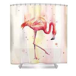Pink Flamingo Watercolor Rain Shower Curtain by Olga Shvartsur