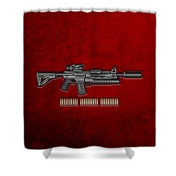 Colt  M 4 A 1  S O P M O D Carbine With 5.56 N A T O Rounds On Red Velvet  Shower Curtain by Serge Averbukh