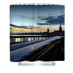 Shower Curtain featuring the photograph Stockholm Night - Slussen by Nicklas Gustafsson