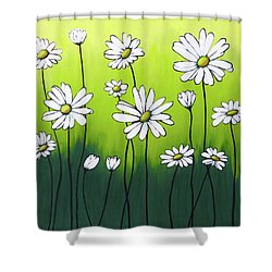 Daisy Crazy Shower Curtain by Teresa Wing
