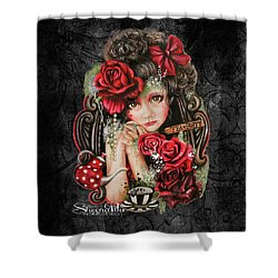 Shower Curtain featuring the drawing Tea, Pretty Please? by Sheena Pike