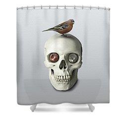 Skull And Bird Shower Curtain