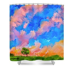 Shower Curtain featuring the mixed media Wide Open Skies by Mark Tisdale