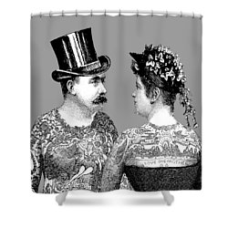 Tattooed Victorian Lovers Shower Curtain by Eclectic at HeART