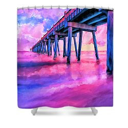 Shower Curtain featuring the mixed media In The Pink On Pensacola Beach by Mark Tisdale