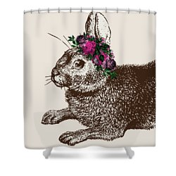 Rabbit And Roses Shower Curtain