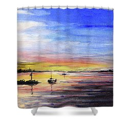 Sunset Watercolor Downtown Kirkland Shower Curtain